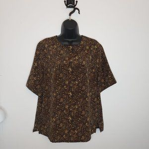 Bonworth Brown Paisley Floral Print Blouse Small